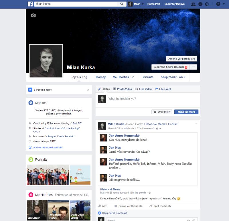 Takhle vypadá můj profil vpirátštině - protože... proč ne?