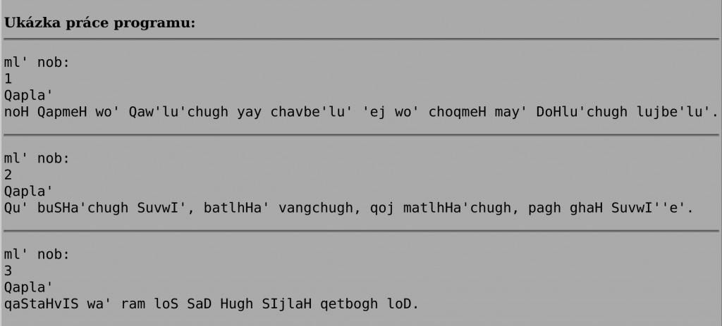 Klingonské citáty vzadání ProgTestu